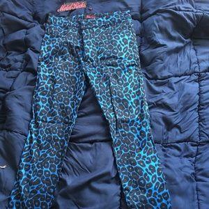 Blue Leopard Print Pants